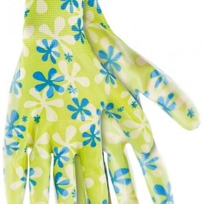 Перчатки садовые из полиэстера с нитрильным обливом, зеленые, L// Palisad