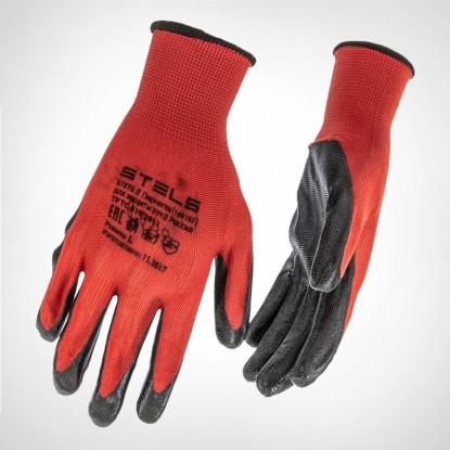 Перчатки полиэфирные с чёрным нитрильным покрытием, размер L, 15 класс вязки// Stels