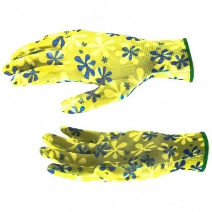 Перчатки садовые из полиэстера с нитрильным обливом, зеленые, M// Palisad