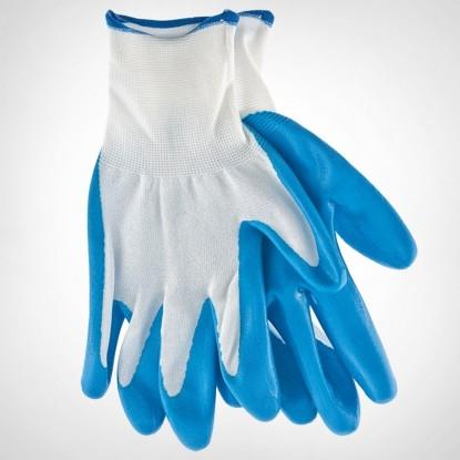 Перчатки полиэфирные с синим нитрильным покрытием, размер L, 15 класс вязки// Сибртех